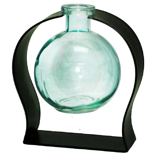 Romantic Decor and More Colorful Tabletop Floral Glass Ball Rooting or Bud Vase w/Gift Box ~ Aqua G114M Colored Floral Glass Vase with Contemporary Black Metal Stand