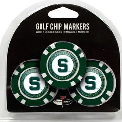 Michigan Golf Ball (Set of 3 Michigan State Spartans Poker Chips with removable Golf Ball Markers)
