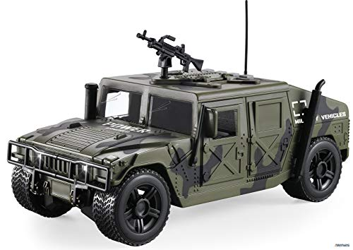 (Memtes Friction Powered Military Fighter Army Truck Toy with Lights and Sounds, Can Open The Front 2 Doors and Back)