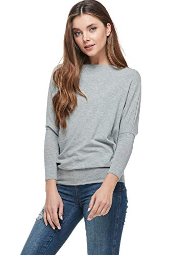 A+D Womens Casual Long Dolman SLV Pullover Loose Fit Blouse Top (Grey, Small)