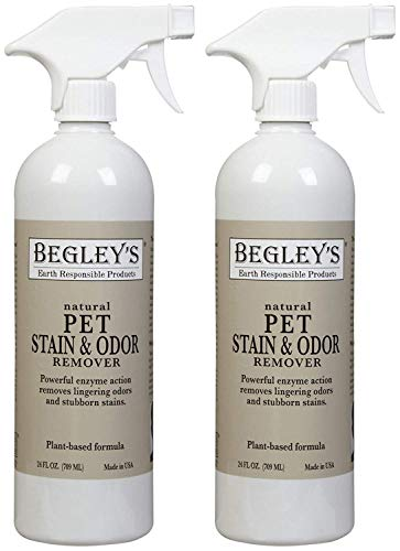Pet Cage Cleaner (Begley's Best Natural Pet Stain and Odor Remover - 24 Ounce - Environmentally Responsible Plant-Based Formula, Cleans Tile, Wood, Carpet, and Upholstery - 2 Pack)