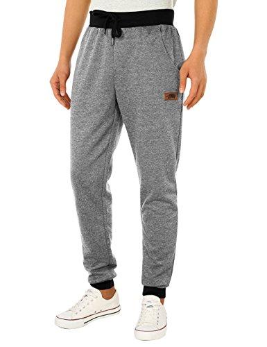 HEMOON Men's Jogging Loose Tracksuit Bottoms Training Running Pants Light Grey (Track Style Leather)