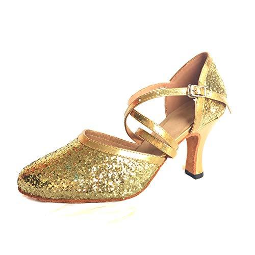 Scarpe Ballo Latino Donna da Syrads Ballo da Tango Sala 8cm Oro da Scarpe Salsa Valzer Ballo wFxAwItqPn