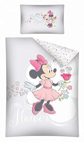 Kinderbettwäsche Disney III 2-teilig 100% Baumwolle 40x60 + 100x135 cm mit Reißverschluss (Minnie Mouse grau)
