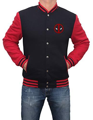 Red and Black Mens Varsity Jacket - High School Superhero Varsity Jacket |Dead Logo, M