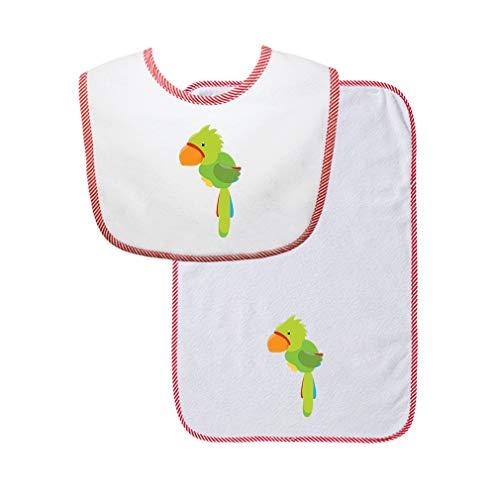 - Green Parrot Cotton Boys-Girls Baby Bib & Burb Set Gingham Trim - Red, One Size