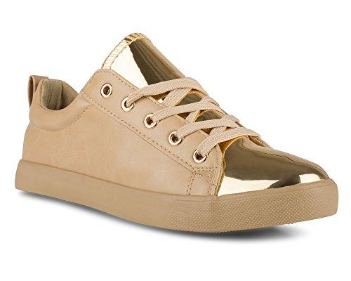 Twisted+Women%27s+KIX+Faux+Leather+and+Metallic+Sneaker+-+KIXLO240ATAN%2C+Size+7.5