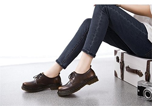 Heel Boat Student Women Chaussures brown Martin Thin Rub Lace Shoes Bottes Ankle Fashion Boots Flat Up RzXpqdqw
