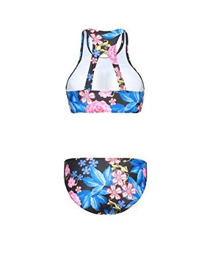 Trajes De Baño Para Mujer Alta Cuello Bikini Set Traje De Baño Beachwear Tankini Púrpura