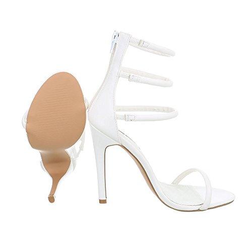 Ital-Design Zapatos Para Mujer Sandalias de Vestir Tacón de Aguja Sandalias de Tacón Blanco