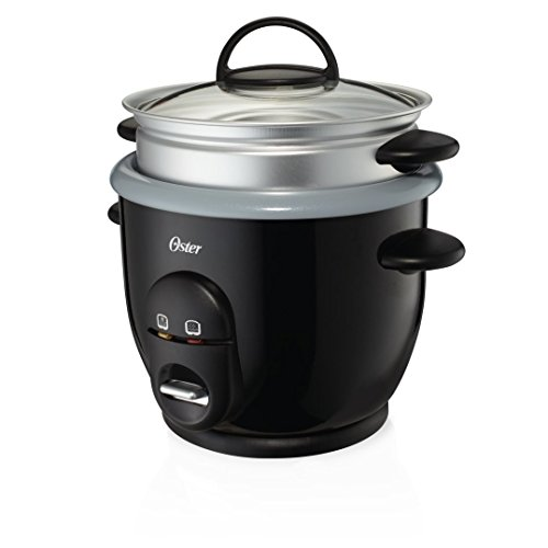 Oster Titanium Infused DuraCeramic 6-Cup Rice & Grain Cooker with Steam Tray, Silver/Black...