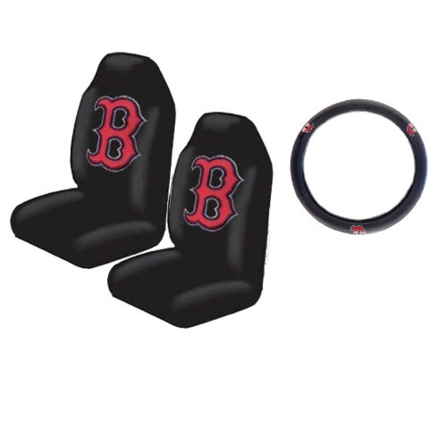 A set of 3 Piece Automotive Gift Set: 2 Highback Seat Covers and 1 Wheel Cover - Boston (Red Sox Steering Wheel Cover)