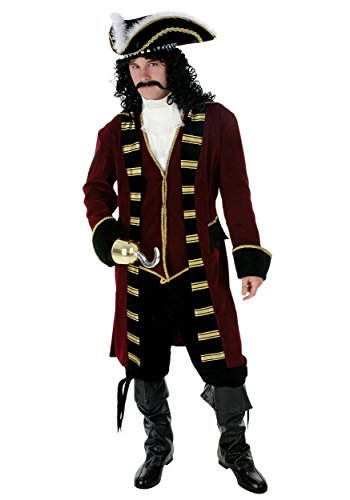 Deluxe Captain Hook Costume Men's Pirate Costume Large