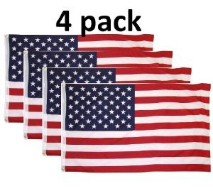 4 Pack Lot US Flag 3' X 5' Ft. USA American Flag Stars Grommets United States
