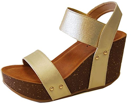 Refresh Women's Mara-10 Platform Cork Wedge High Heel Leather Sandal Champange Champagne