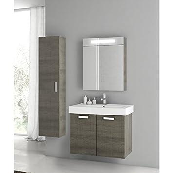 Amazon.com: ACF 30 inch Gris Oak cuarto de baño vanidad Set ...