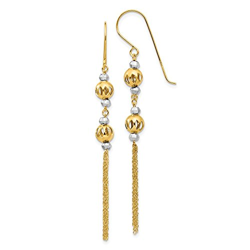 14k Two Tone Yellow Gold Bead Chain Drop Dangle Chandelier Earrings Fine Jewelry Gifts For Women For Her