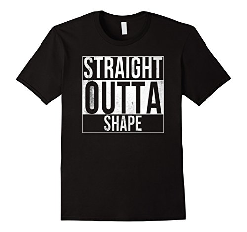 Funny Workout T-shirt (Mens Straight Outta Shape Funny Workout T-Shirt 3XL Black)
