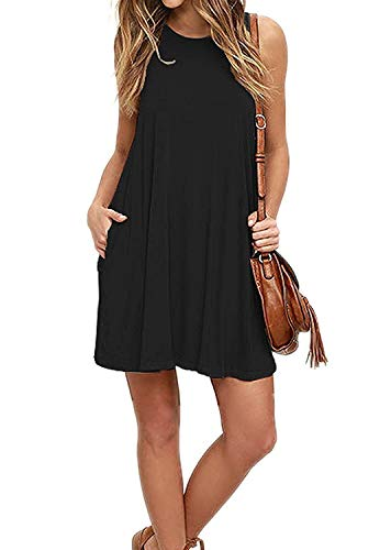 Price comparison product image Mifidy Loose Tank Dress, Women's Dresswear Long Sleeve Pleated Loose Swing Casual Dress with Pockets Over Knee Length with Valentine's Gift for Girlfriend(X-Large,Black)