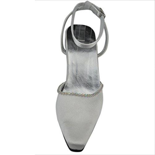 Minishion Damesschoenen Stiletto Hoge Hak Satijn Avondfeest Bruids Enkelband Pompen Wit-9cm Hak