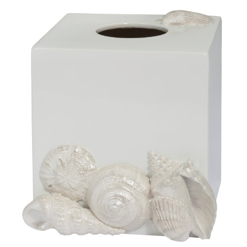 (Elegant Natural Beauty Seaside White Shells Bathroom Bath Tissue Box Cover)