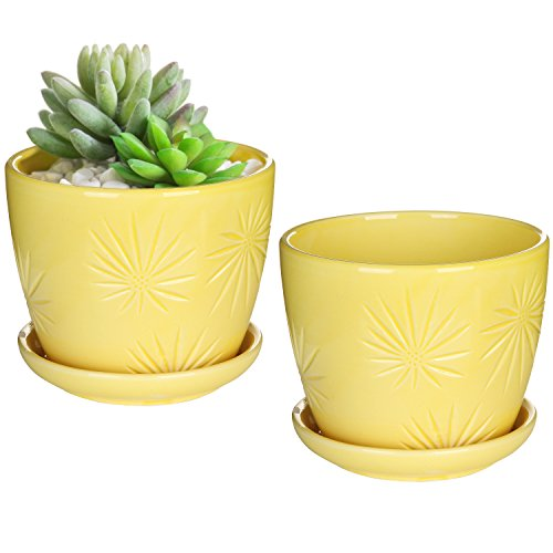 MyGift Set of 2 Yellow Sunburst Design Ceramic Flower Planter Pots/Decorative Plant Containers with Saucers