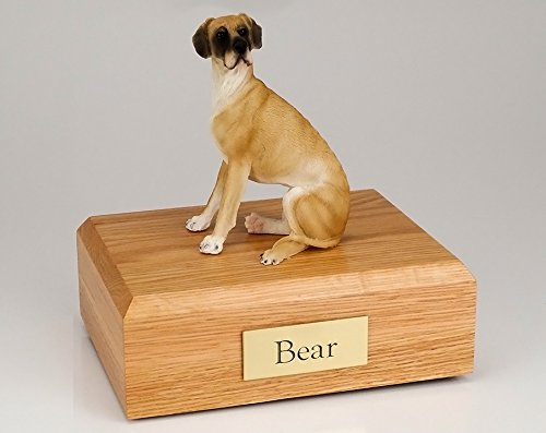 GENUINE North American Hardwood Great Dane Sitting Ears Down Figurine Urn Fawn (Hardwood Fawn)