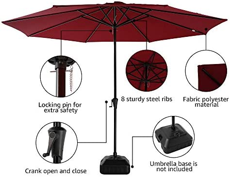 COBANA 11 Large Patio Umbrella, Outdoor Table Market Umbrella with 8 Steel Ribs and Crank, Dark Red