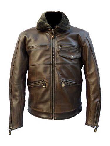 - Men's Waxed Leather Motorcycle Jacket with removable Fur.(OVERLAND LEATHER JACKET)
