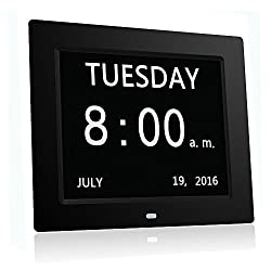 HeQiao 8 Inch Dementia Calendar Clock Digital Large LED Display Memory Loss Desk Shelf Clocks Silent Wall Clock for Home Office or Seniors Memory Loss Dementia Alzheimer-Black