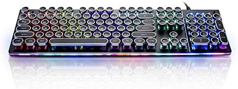 104-Key Anti-Ghosting Blue Switch Mechanical Gaming Keyboard DoubleW Typewriter Keyboard with LED Backlit /& Sidelight Metal Panel /& Retro Steampunk Round Black Keycaps Wired USB for PC and Laptop