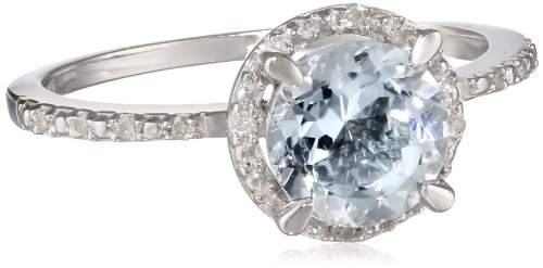 Sterling Silver Diamond and Aquamarine Circle Ring (0.05 Cttw, G-H Color, I3 Clarity), Size 7