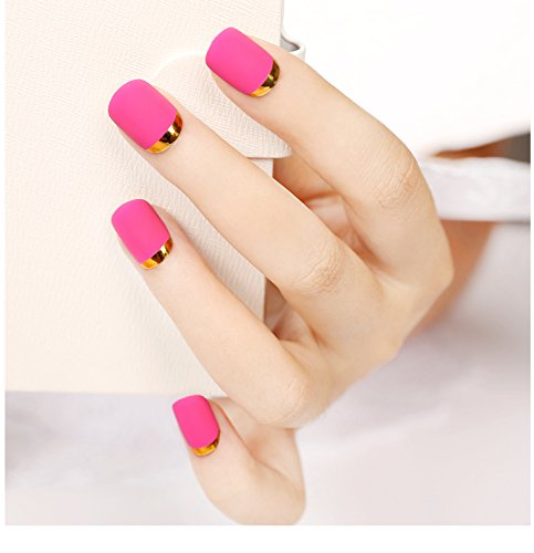 Generic Matte_texture_Artificial_fingernails_chip_ Nail _waterproof_ lovely _finished_solid_colors stylish _French_ short a_chip_multi-color ()