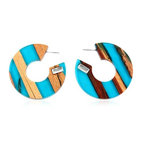 - Bohemian Geometric Natural Wood Statement Earrings - Ethnic Wooden Bead Hoops, Diamond Drops, Rattan Straw Acetate Disc, Teardrop Dangles (Lucite & Wood Profile Hoops - Aqua Blue)