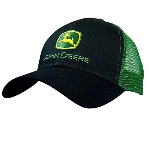 John Deere Embroidered Logo Mesh Back Baseball Hat - One-Size - Men's - Black -