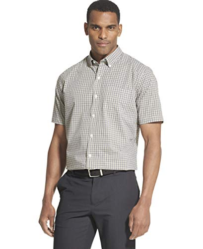 (Van Heusen Men's Flex Stretch Short Sleeve Non Iron Shirt, Black X-Large)