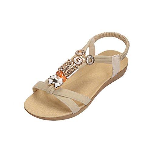 Con De Bohe Cuentas De Sandalias Plano Zapatos Beige De Sandalias Peep ZARLLE Bohemia Zapatos Verano Sandalias Romanas Dulce Playa Casual Rhinestone Hebilla Casuales Toe Mujer p8xWzZIHq