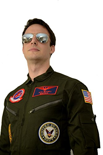 Top Gun Maverick / Goose Costume + Sunglasses Party Men Flight Suit Jumpsuit - Mens Top Gun Costume