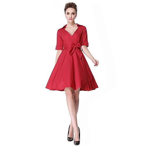Heroecol Vintage 1950s 50s Dress Style Retro Rockabiily Cocktail V Neck XL RD Red