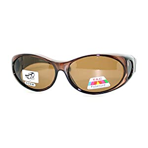 OTG Fit Over Glasses Oval Polarized Lens Sunglasses 100% UV Protection Brown