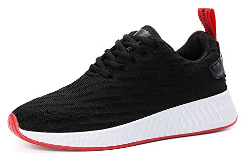 COSDN Women's Breathable Lace-up Sneakers Comfortable Flyknit Running Fitness Shoes Size 6 Black