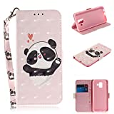 Strap 3D Wallet Case for Samsung Galaxy A6 2018,Aoucase Ultra Slim Fancy Painted Magnetic Soft Silicone Card Slot Stand PU Leather Case with Black Dual-use Stylus - Lovely Panda