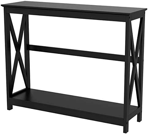 YAHEETECH 2 Tier X Design Hallway Large Console Table Entryway Accent Tables with Storage Shelf Living Room Entrance Furniture, Black