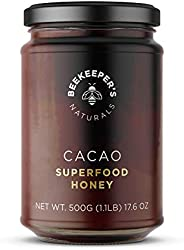 BEEKEEPER'S NATURALS Superfood Cacao Honey - Raw Honey with Organic, Raw Ecuadorian Cacao, Filled with Ant