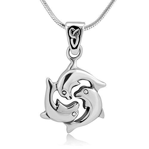 Chuvora Sterling Silver Celtic Triple Dolphin Fish Love Harmony Friendship Pendant Necklace 18''