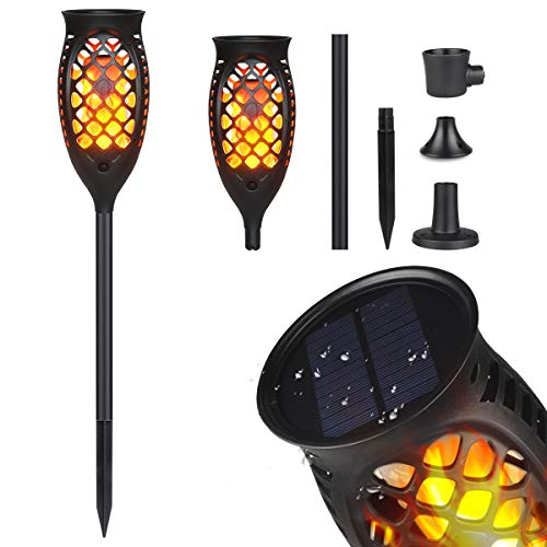 Solar Flickering Flame Torch Light - Dancing Flames Decorative Landscape Lighting, Solar Torch Lights Outdoor, Solar Pathway Lights for Halloween, Garden, Patio, Deck, Yard