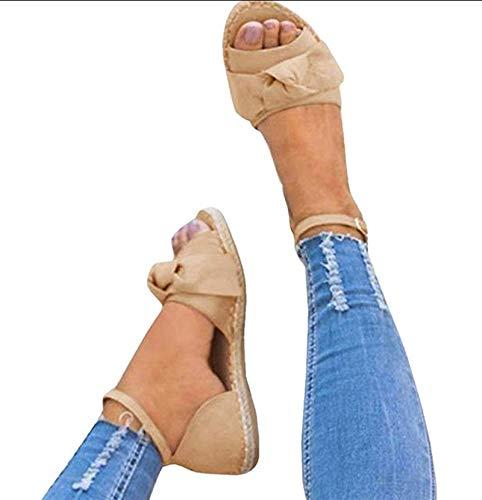 Jeanewpole1 Womens Cute Bow Open Toe Ankle Strap Espadrille Flat Sandals (8 B(M) US, Khaki)