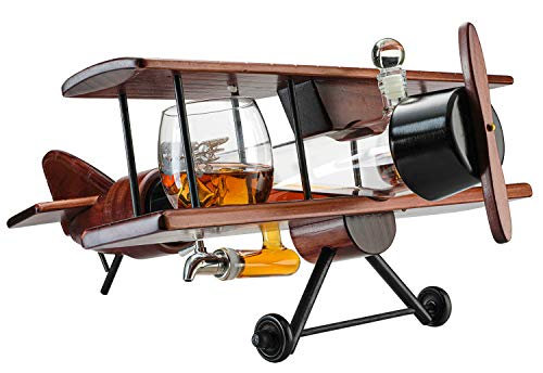 """Whiskey Decanter Airplane Set and Glasses Antique Wood Airplane - The Wine Savant Whiskey Gift Set and 4 World Map Glasses, Pilot Gift With Moving Parts- Alcohol Related Gift, HOME BAR DECOR Large 21"""""""