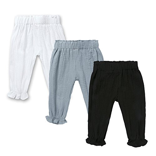 Linen Bloomers - Mary ye Baby Boys Girls 3 Pack Cotton Linen Trousers Unisex Anti-Mosquito Casual Pants