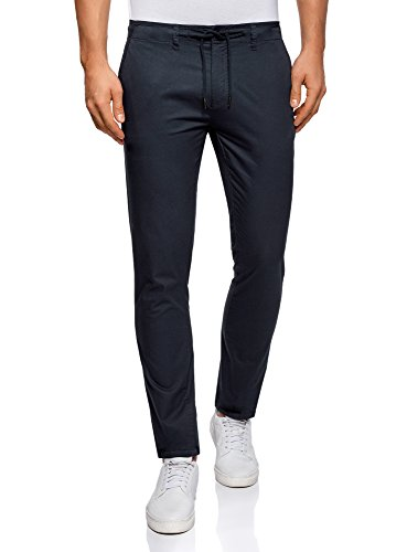 Uomo Cotone 7900n Oodji Laccetti Pantaloni Ultra Con In Blu Cfx5S